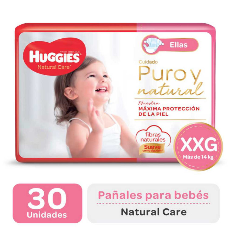 Pañal Huggies Natural Care Ellas XXG x 30 u (+14kg)