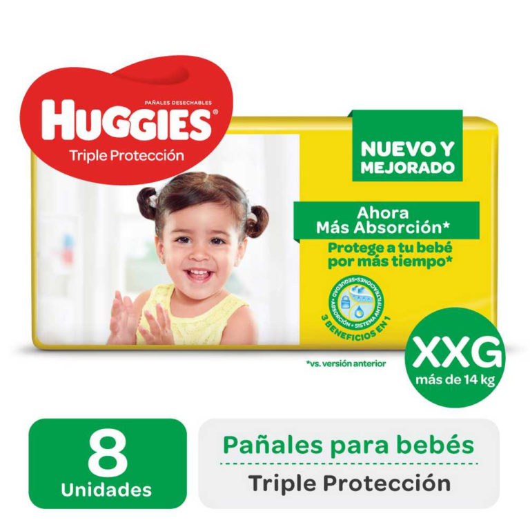 Pañales Triple Protección XXG (+14 kg) x 8 un